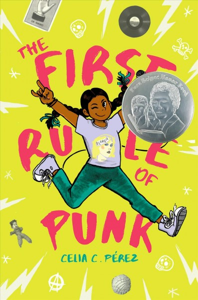 Image of girl with long braids, jeans and tshirt, leaping across yellow background-book cover