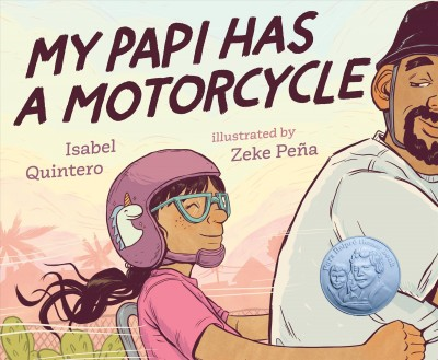 Image of father and daughter wearing helmets riding across landscape -book cover