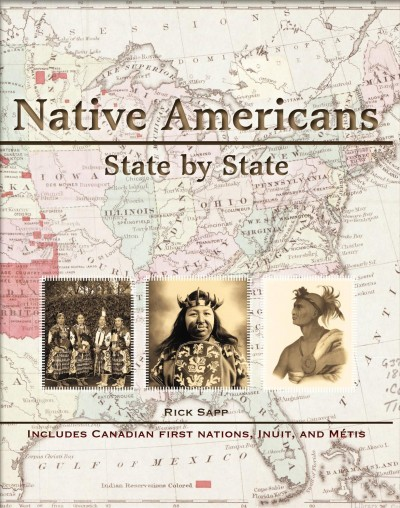 image of map in background with 3 images of Native Americans overlaid--book cover image