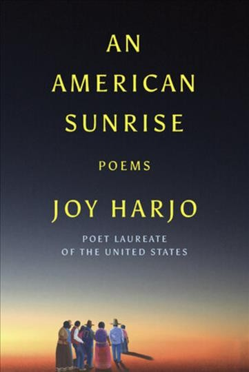 Evening/Sunset landscpe with group of Native Americans standing together --book cover image
