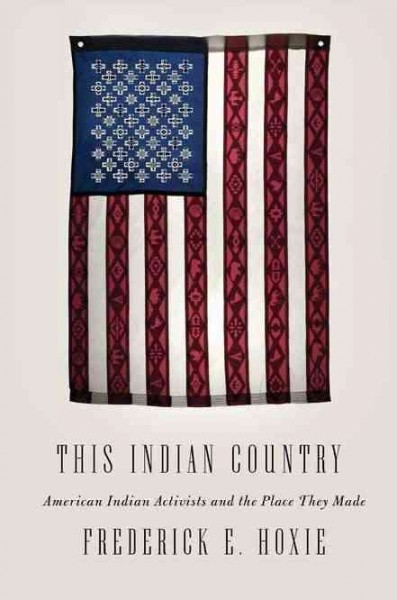 White background with hanging folk-art style tapestry or blanket of the American flag--book cover image
