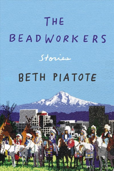 Image of mountain peak with snow in the background, a city in the middle ground, and a line of Native Americans in traditional clothing and headdresses on horseback in foreground --book cover image