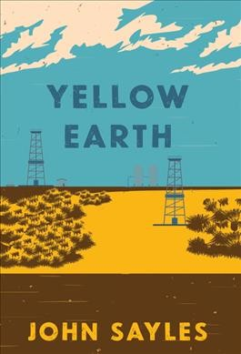 flat image of blue sky with clouds over yellow and brown flat landscape with small scrub and two oil derricks--book cover image