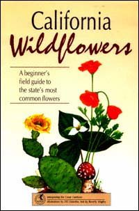 "Book cover - Image of red poppy, red mushroom and flowering cactus. Text reads ""California Wildflowers - A Beginner's Field Guide to the State's Most Common Flowers"""